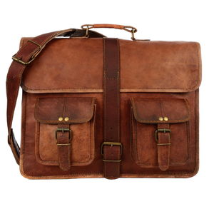 Large Brown Strap Style Leather Satchel / Laptop Bag - bags & purses
