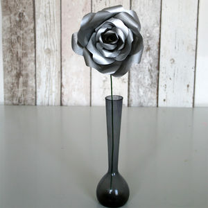 Silver Paper Rose - flowers, plants & vases