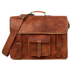 Large Briefcase Style Brown Leather Satchel Laptop Bag - summer sale