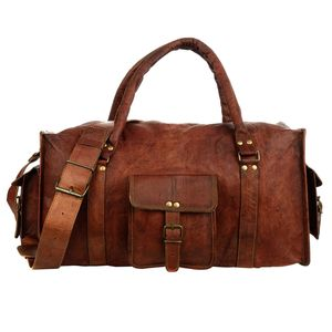 Large Brown Leather Holdall - men's accessories