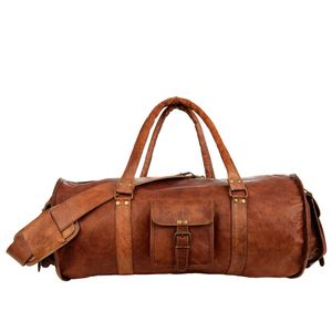 Large Brown Leather Barrel Holdall