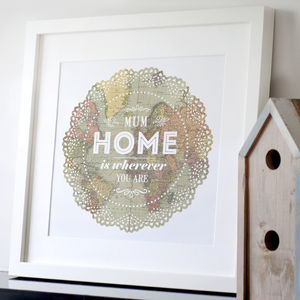 Personalised 'Home Is Wherever You Are' Print - typography