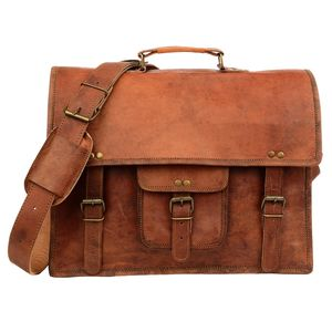 Vintage Style Brown Leather Satchel - bags