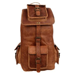 Large Brown Leather Rucksack - holdalls & weekend bags