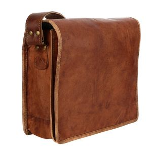 Brown Leather Courier / Messenger Bag - men's sale