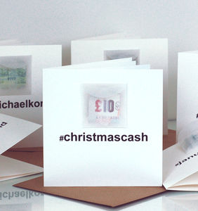Pack Of Hashtag Cash Personalised Cash Christmas Card - personalised