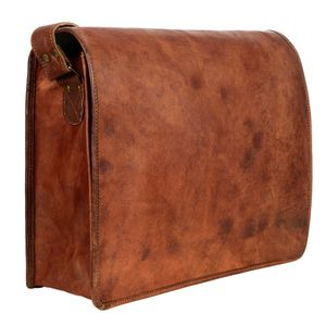 Brown Leather Courier / Messenger / Laptop Bag - tech accessories for him