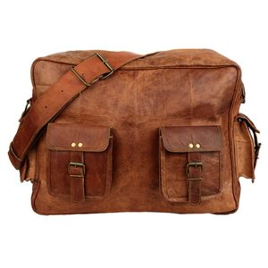 Large Brown Leather Overnight Bag - luggage