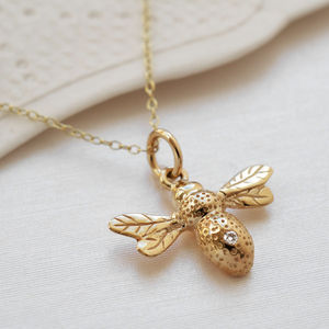 Nine Carat Gold Bee Necklace With Diamond - fine jewellery