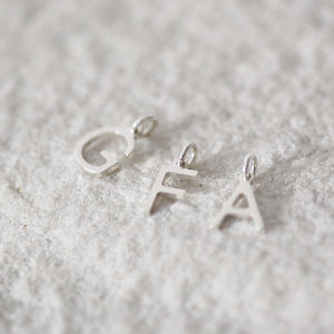 Sterling Tiny Initial - charm jewellery