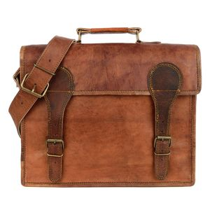 Large Old School Brown Leather Satchel - gifts from adult children