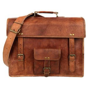 Large Brown Vintage Leather Satchel - bags