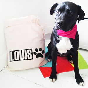Personalised Pet 'Name' Draw Cord Storage Bag - dogs