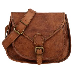 Curved Brown Leather Saddle Bag - womens