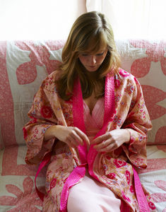Cotton Kimono Dressing Gown Rose Floral Print - bath robes