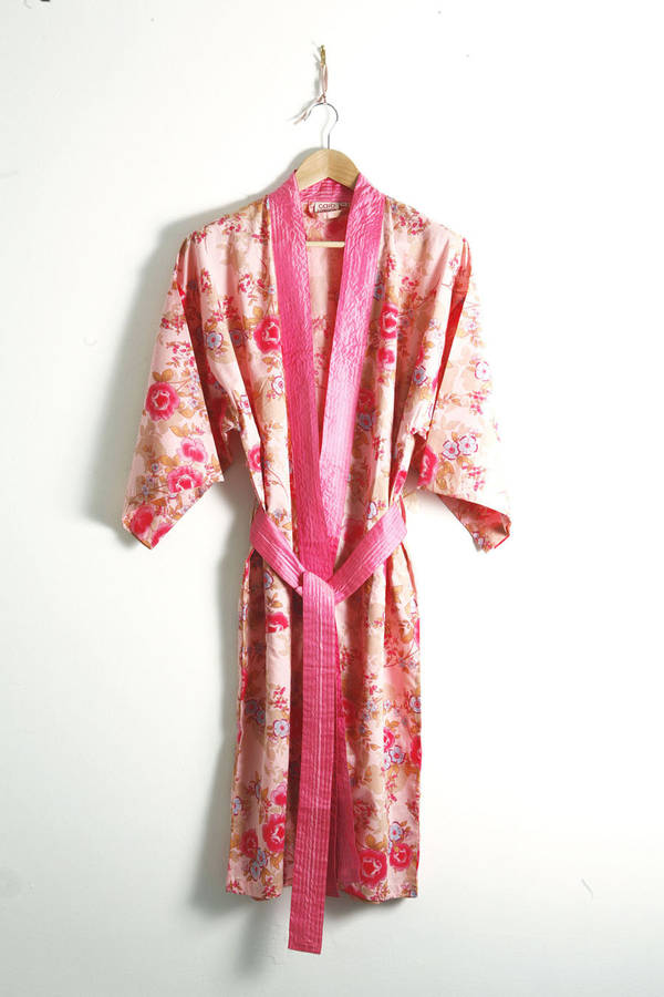 cotton kimono dressing gown rose floral print by caro london ...