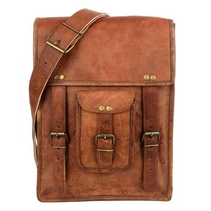 Brown Leather Satchel Style Shoulder Bag - men's accessories