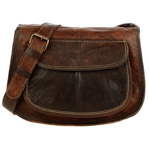 Curved Small Dark Brown Leather Saddle Handbag - bags & cases