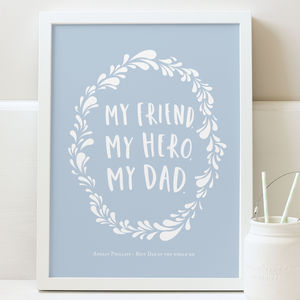 My Hero Dad Personalised Print - art
