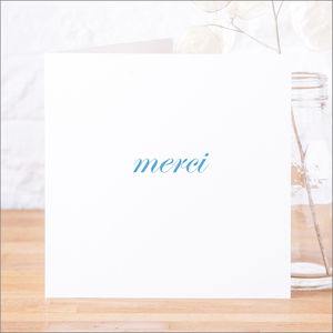 Single Or Pack Of French 'Merci' Thank You Cards