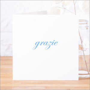 Single Or Pack Of Italian 'Grazie' Thank You Cards