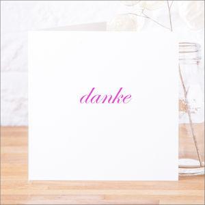 Single Or Pack Of German 'Danke' Thank You Cards