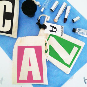 Personalised 'Alphabet' Draw Cord Makeup And Bits Bag