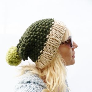 Chunky Knit Colour Block Bobble Hat