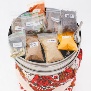 Indian Spices With Tin And Silk Cover - kitchen accessories