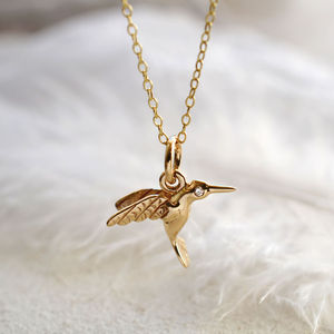 Nine Carat Gold Hummingbird Necklace With Diamond - necklaces & pendants