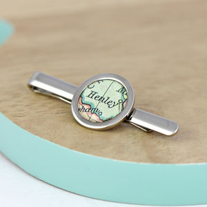 Personalised Vintage Map Tie Slide - collar studs & stiffeners