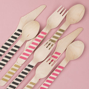Striped Wooden Party Cutlery Pack Of 10