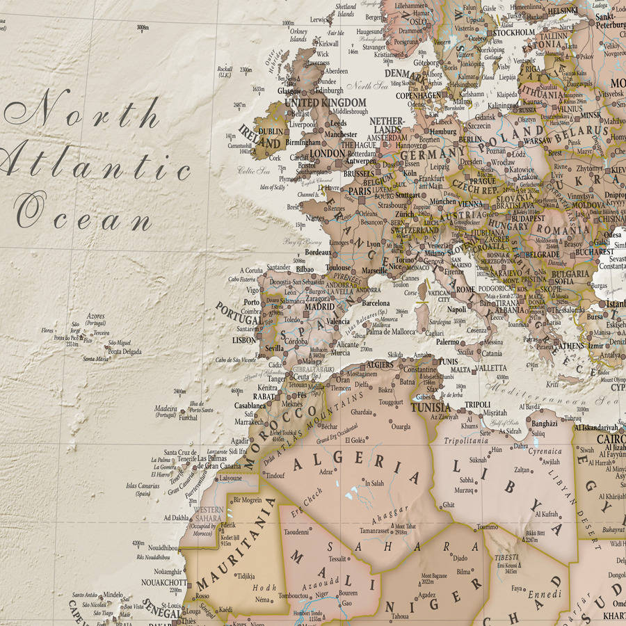 Personalised antique world map by maps international personalised antique world map gumiabroncs Image collections