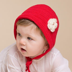 Hand Crochet Baby Little Red Bonnet