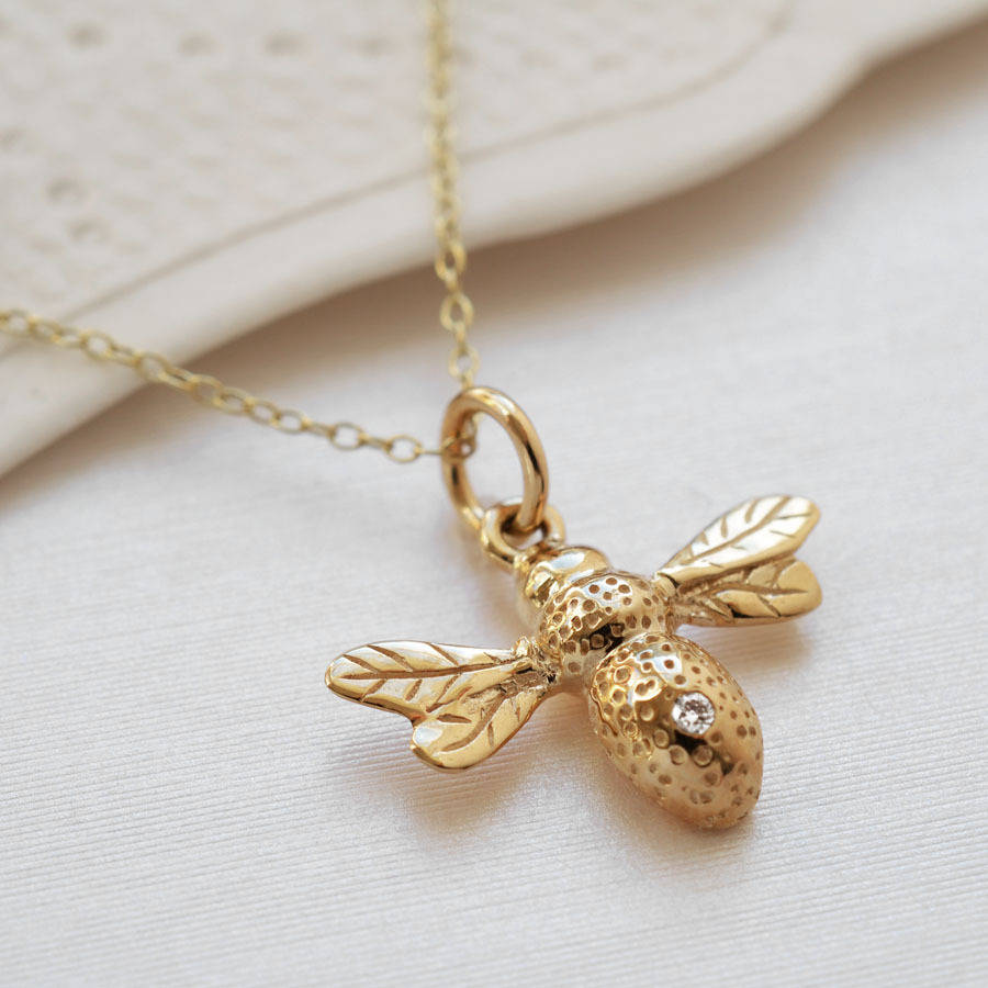 mini products bee honey necklace