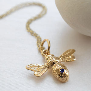 Nine Carat Gold Bee Necklace With Sapphire - birthstone jewellery gifts