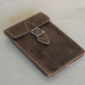 Brown Tablet Cover With Buckle - laptop bags & cases