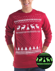 Mens Glow In The Dark Christmas Reindeer Tee