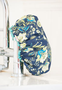 Bath Hats Or Shower Caps In French Fleurs Navy Print
