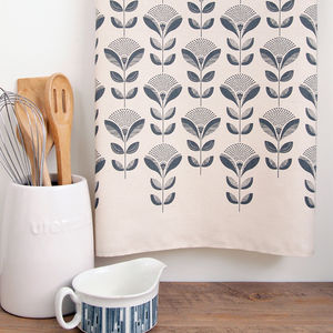 Dandelion And Leaf Print Tea Towel - kitchen
