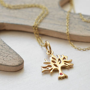 Nine Carat Gold Tree Necklace With Ruby - necklaces & pendants