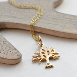 Nine Carat Gold Tree Necklace With Sapphire
