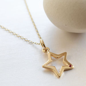 Nine Carat Gold Open Star Necklace With Ruby