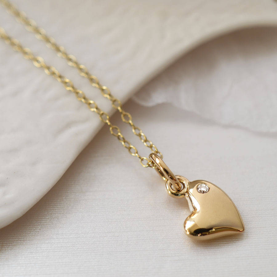 Nine Carat Gold Warm Heart Necklace With Diamond