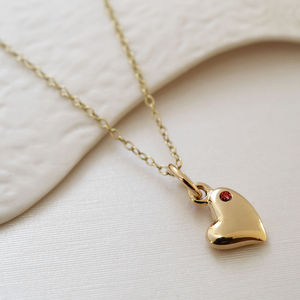 Nine Carat Gold Warm Heart Necklace With Ruby - personalised jewellery