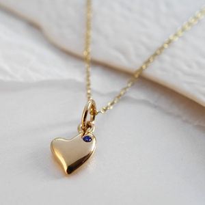 Nine Carat Gold Warm Heart Necklace With Sapphire - women's jewellery
