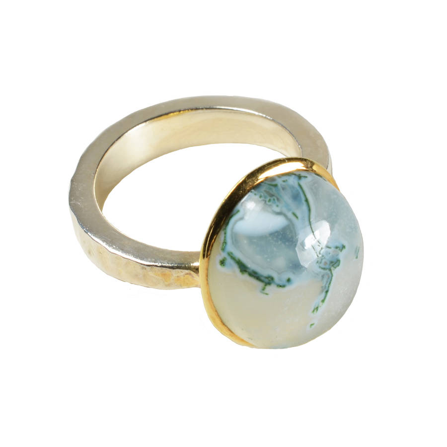 Freya Ring, Moss Aquamarine, Gold And Silver