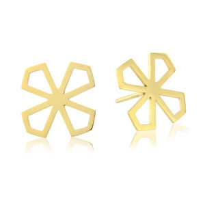 Star Lotus Flat Stud Earrings