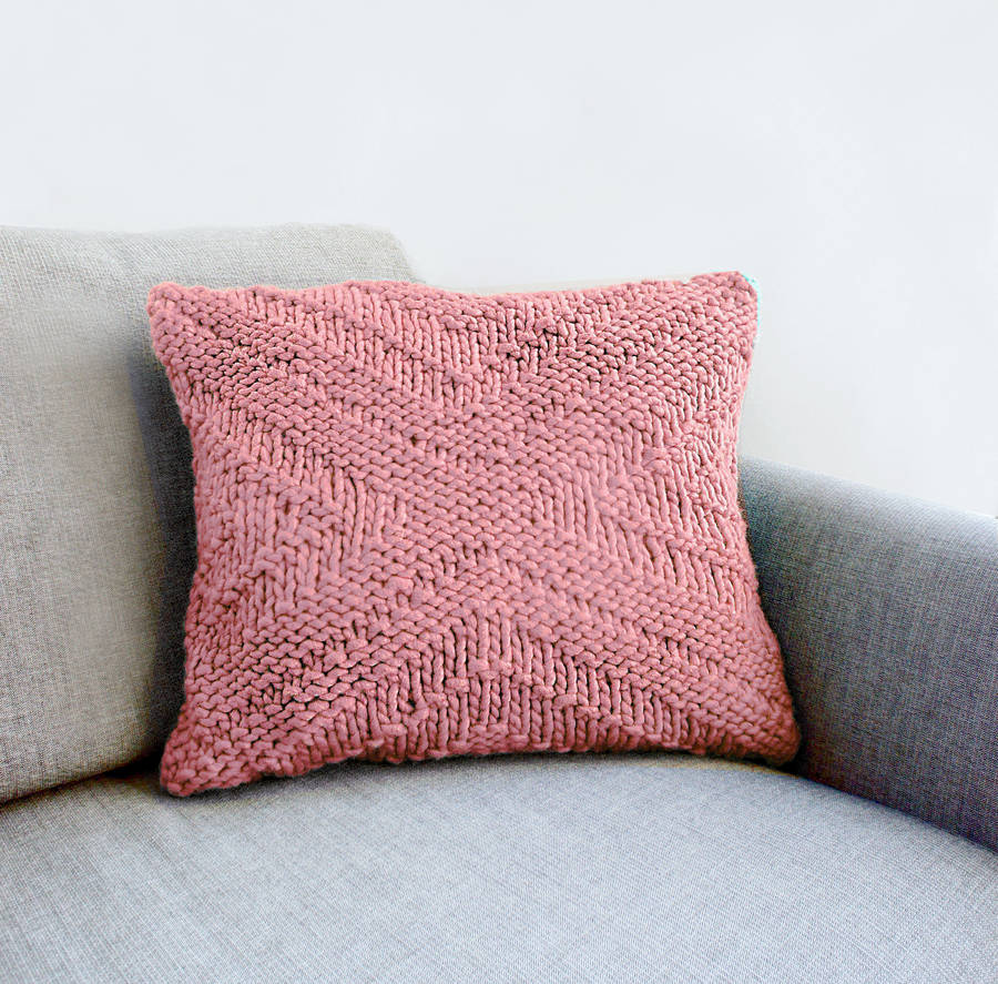 criss cross pattern cushion cover knitting kit by stitch & story notont...