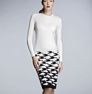 Ivory Knitted Merino Wool Dress - women's fashion